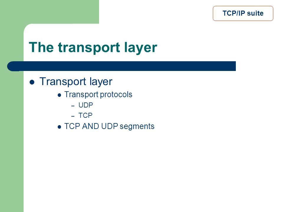 The transport layer Transport layer Transport protocols
