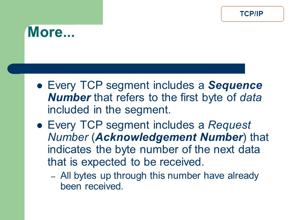 More... TCP/IP. Every TCP segment includes a Sequence Number that refers to the first byte of data included in the segment.