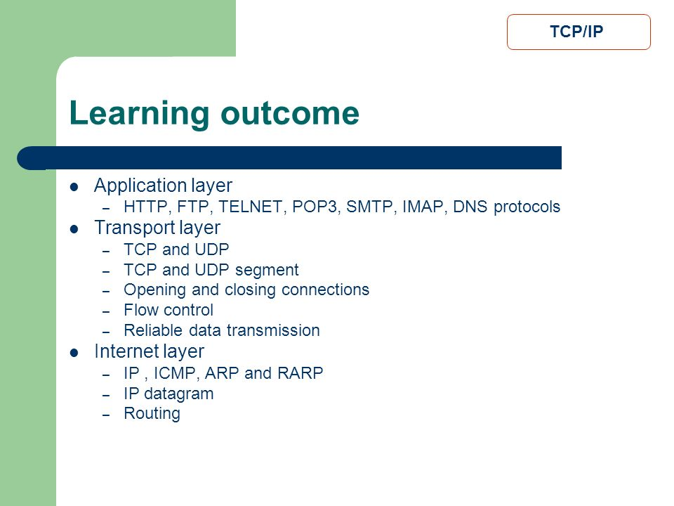 Learning outcome Application layer Transport layer Internet layer