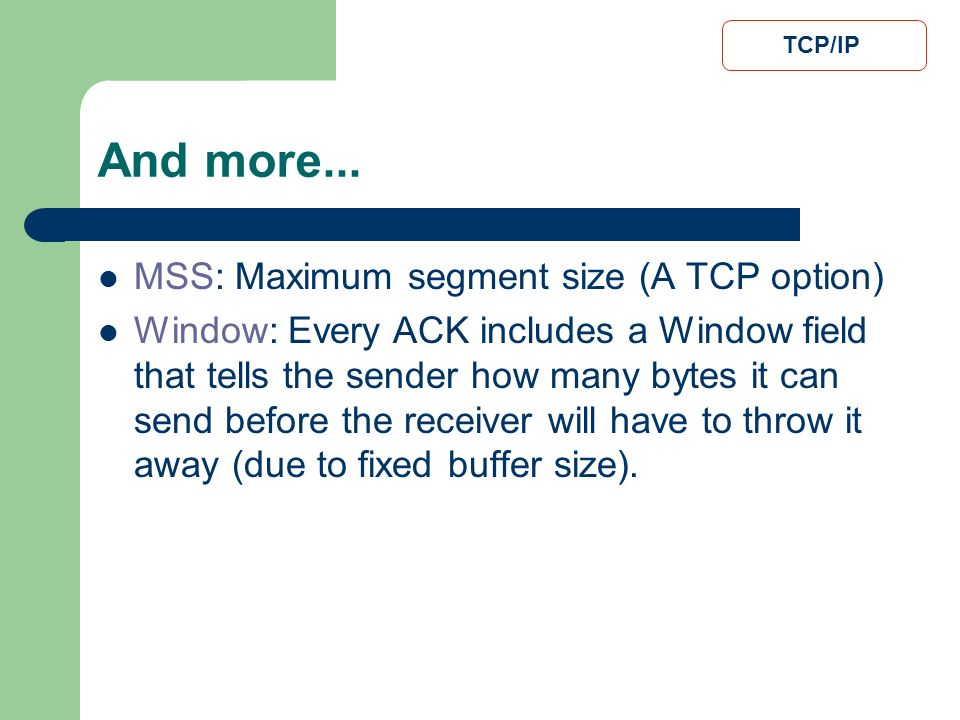 And more... MSS: Maximum segment size (A TCP option)