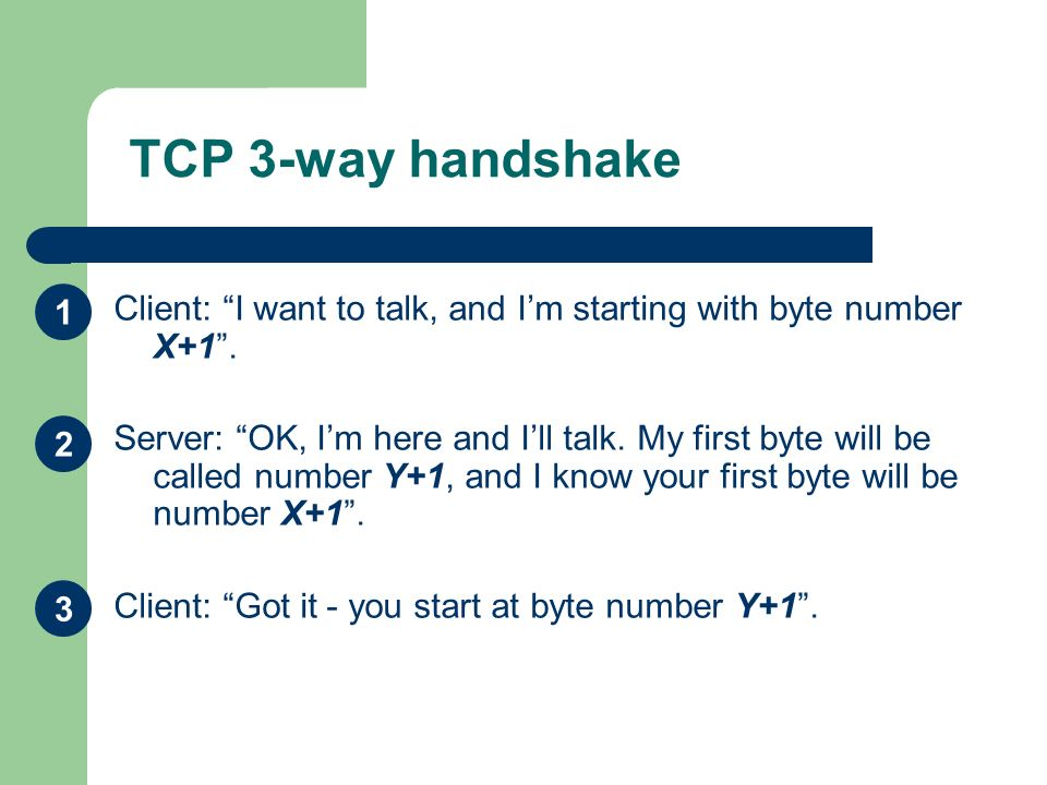 TCP 3-way handshake 1. Client: I want to talk, and I'm starting with byte number X+1 .