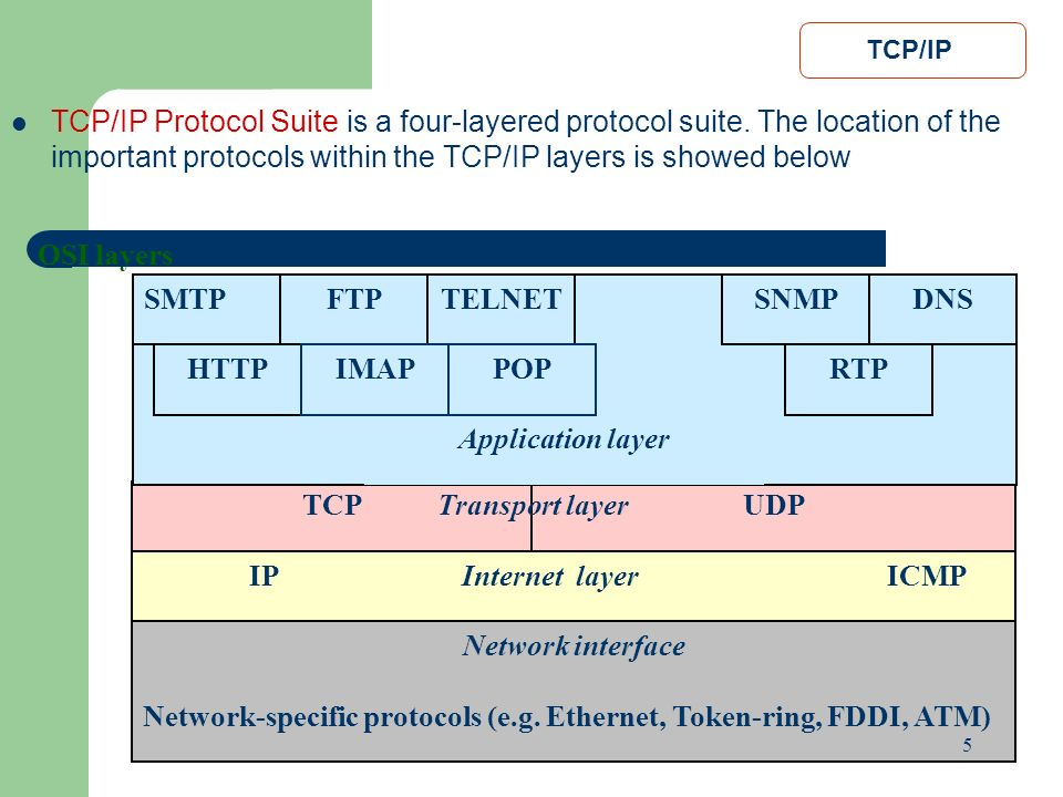 Network-specific protocols (e.g. Ethernet, Token-ring, FDDI, ATM)