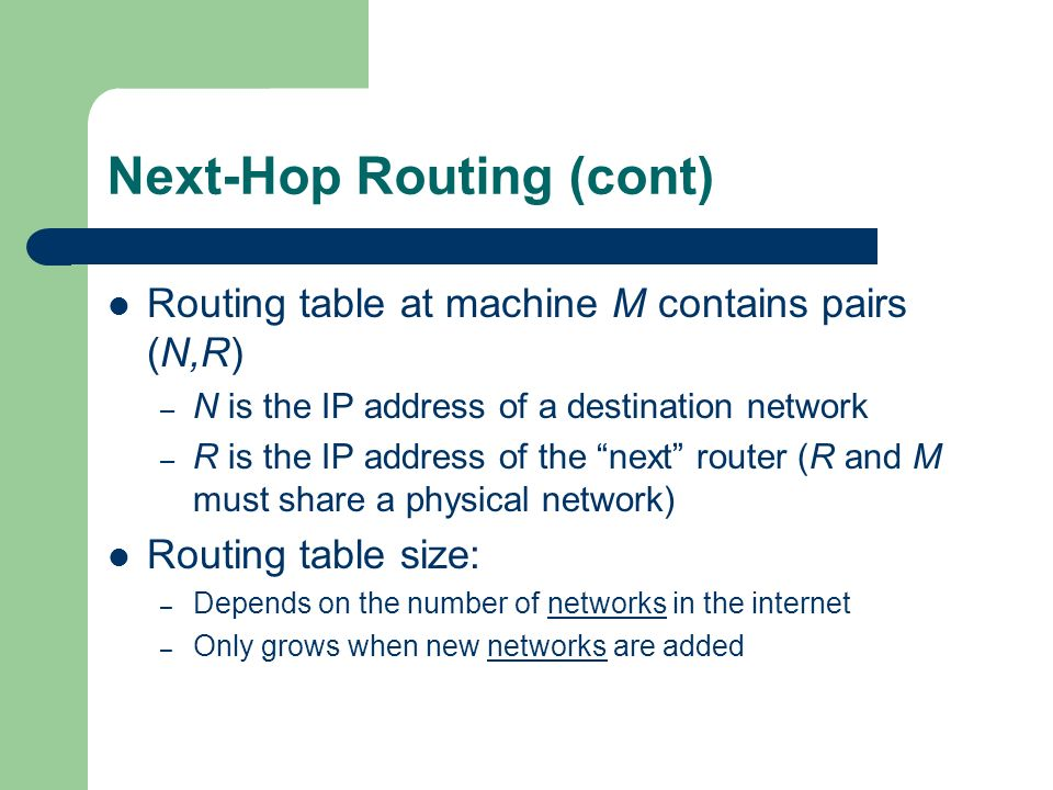 Next-Hop Routing (cont)
