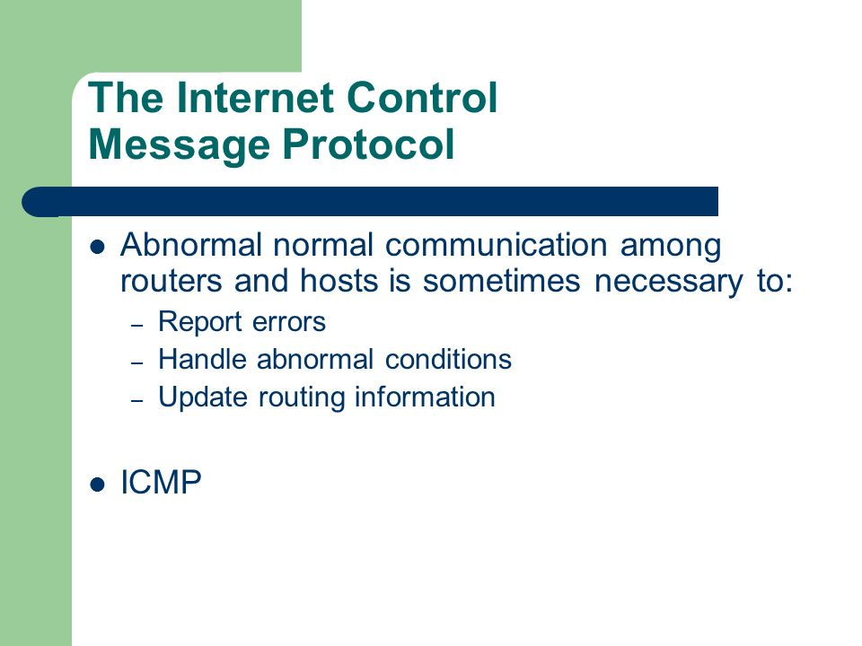 The Internet Control Message Protocol