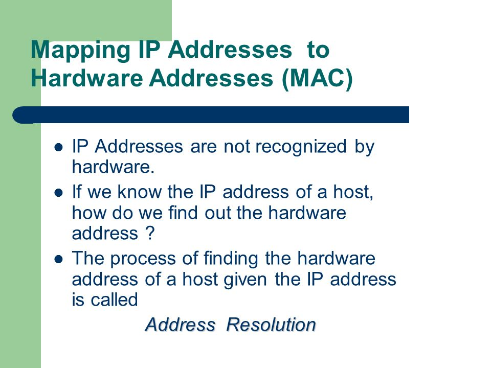 Mapping IP Addresses to Hardware Addresses (MAC)