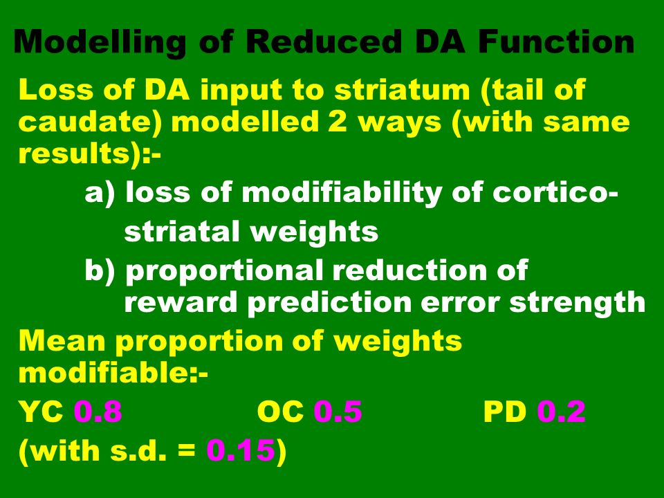Modelling of Reduced DA Function