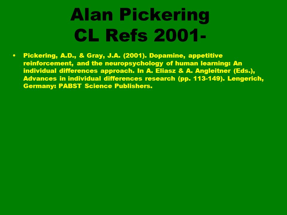 Alan Pickering CL Refs 2001-