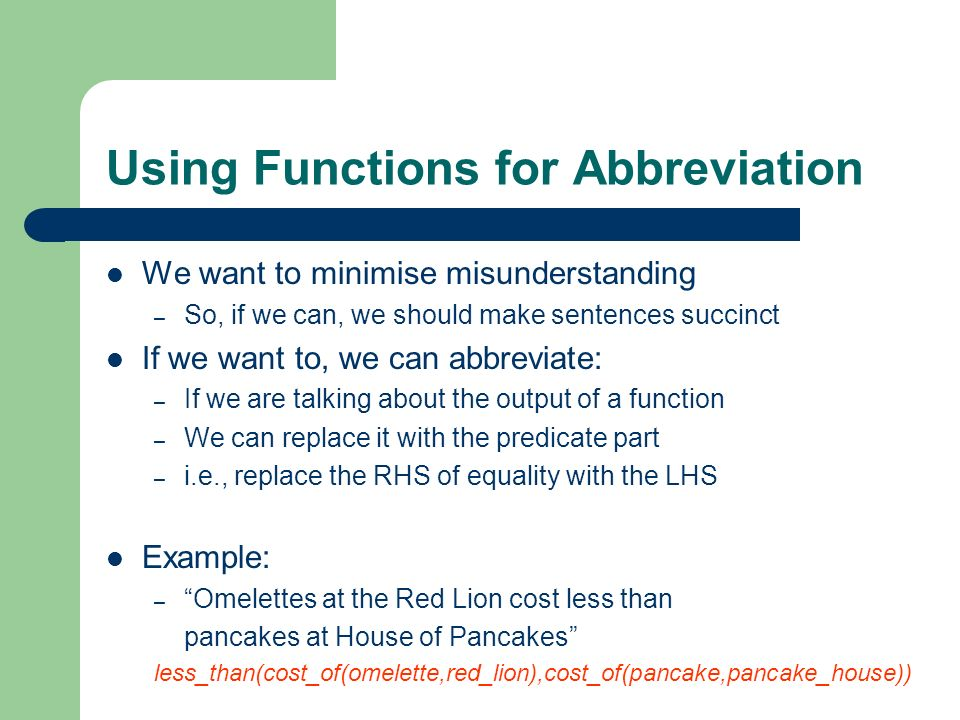 Using Functions for Abbreviation