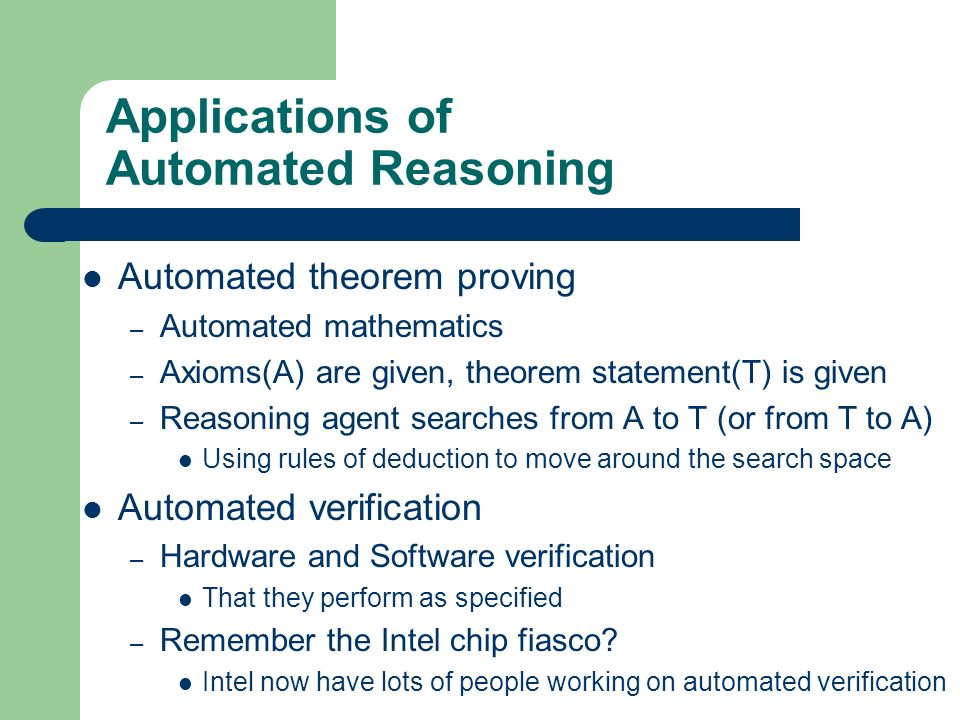 Applications of Automated Reasoning