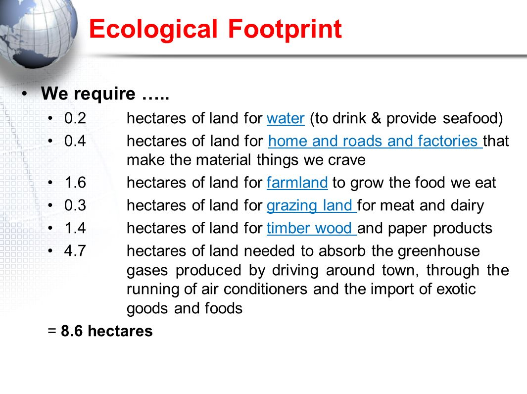 Ecological Footprint We require …..