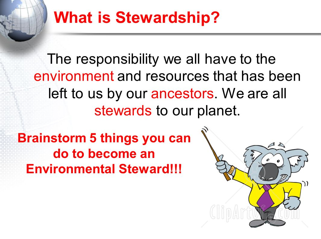 Brainstorm 5 things you can do to become an Environmental Steward!!!
