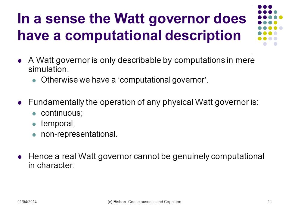 In a sense the Watt governor does have a computational description