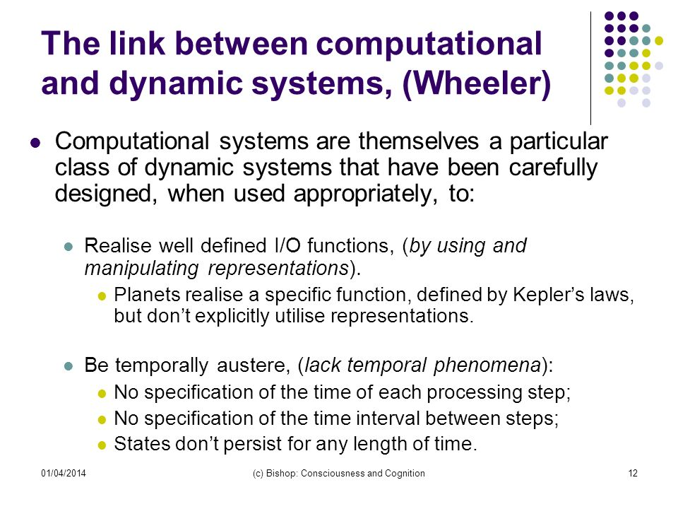 The link between computational and dynamic systems, (Wheeler)