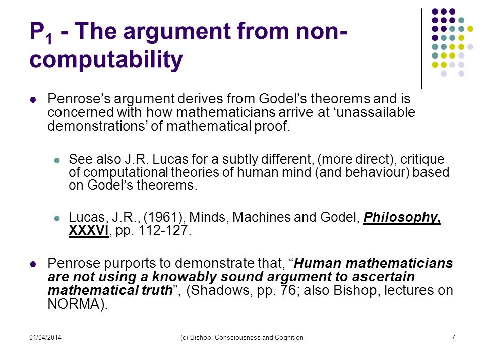 P1 - The argument from non-computability