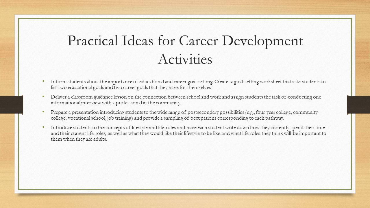 Practical Ideas For Career Development Activities