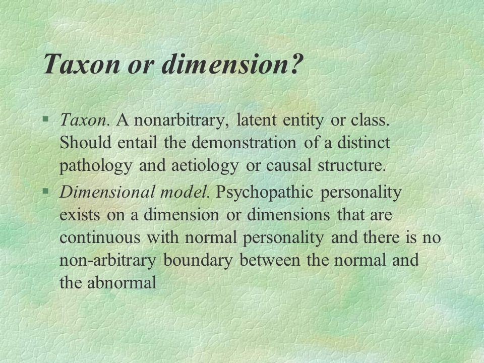 Taxon or dimension