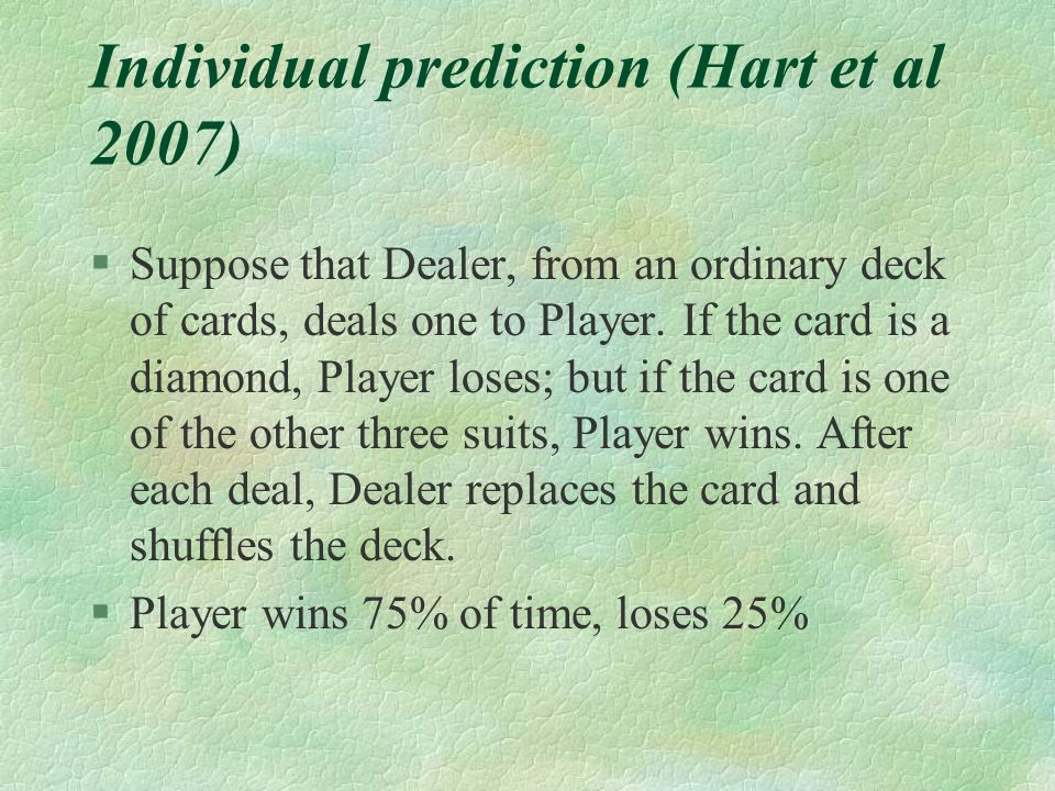 Individual prediction (Hart et al 2007)