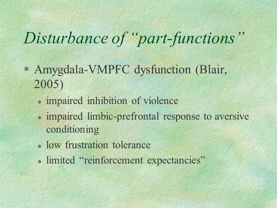 Disturbance of part-functions