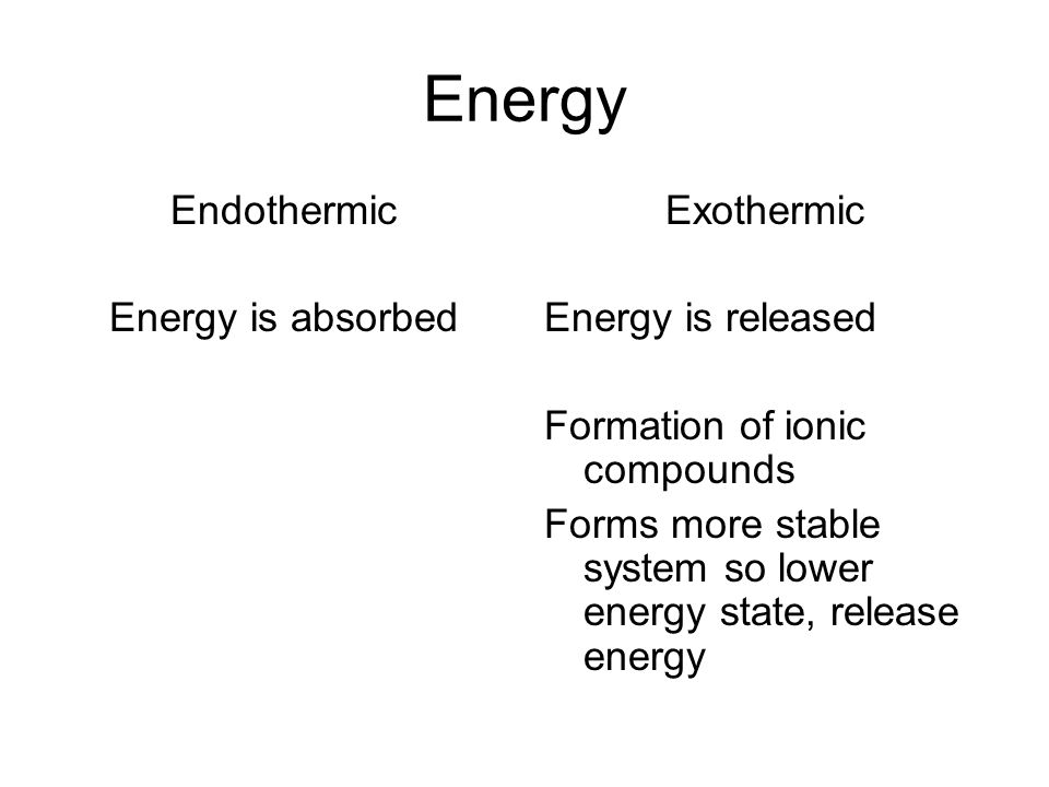 Energy Endothermic Energy is absorbed Exothermic Energy is released