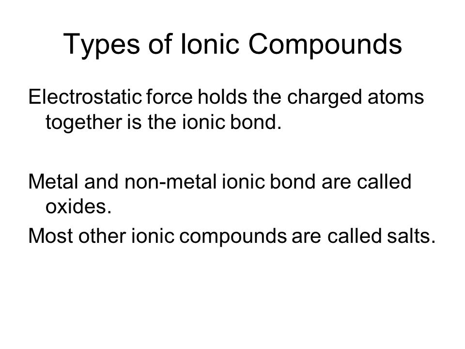 Types of Ionic Compounds