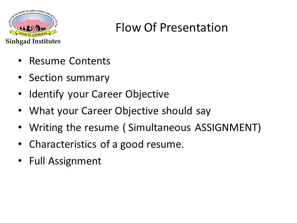 flow of presentation resume contents section summary