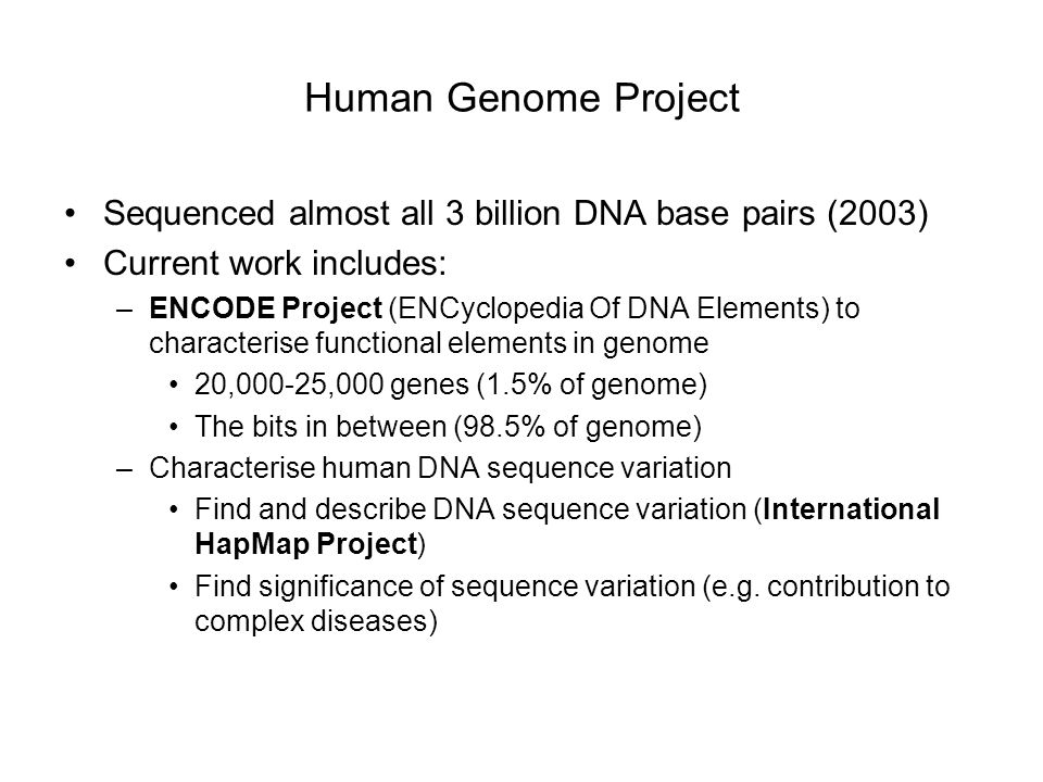 Human Genome Project Sequenced almost all 3 billion DNA base pairs (2003) Current work includes: