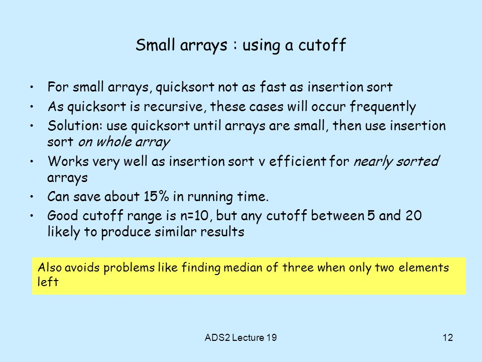 Small arrays : using a cutoff