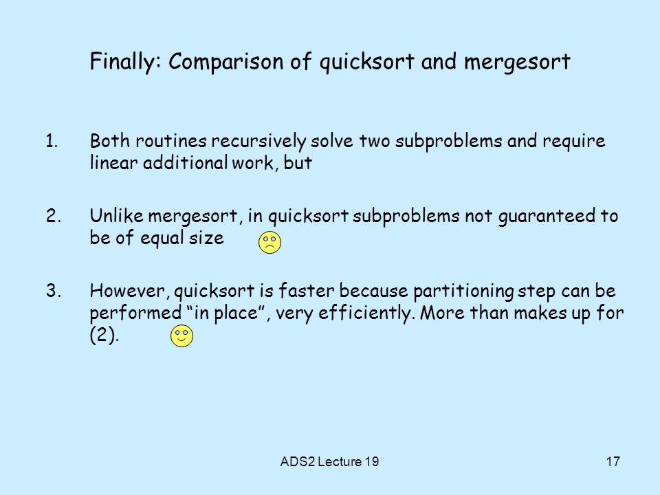 Finally: Comparison of quicksort and mergesort