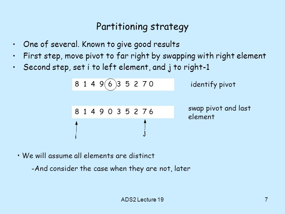 Partitioning strategy