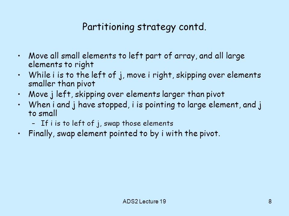 Partitioning strategy contd.