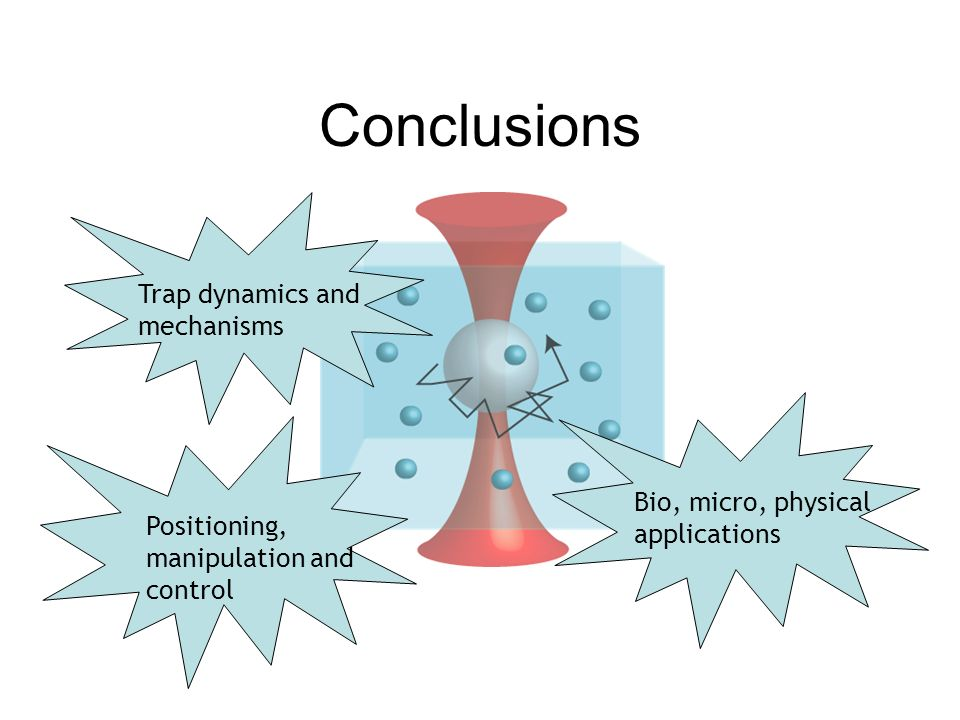 Conclusions Trap dynamics and mechanisms Bio, micro, physical