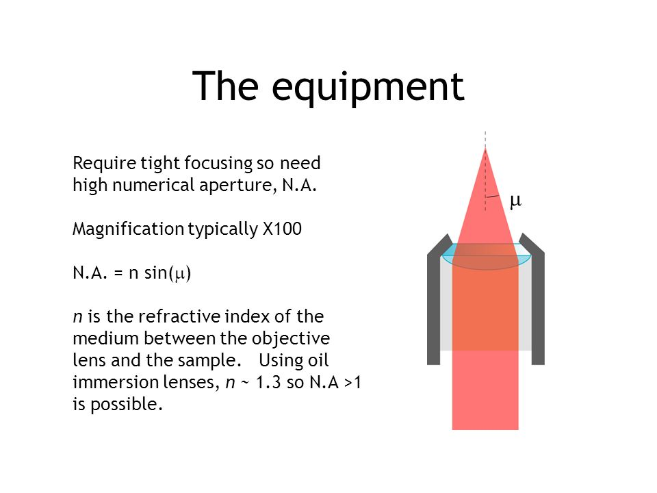 The equipment  Require tight focusing so need
