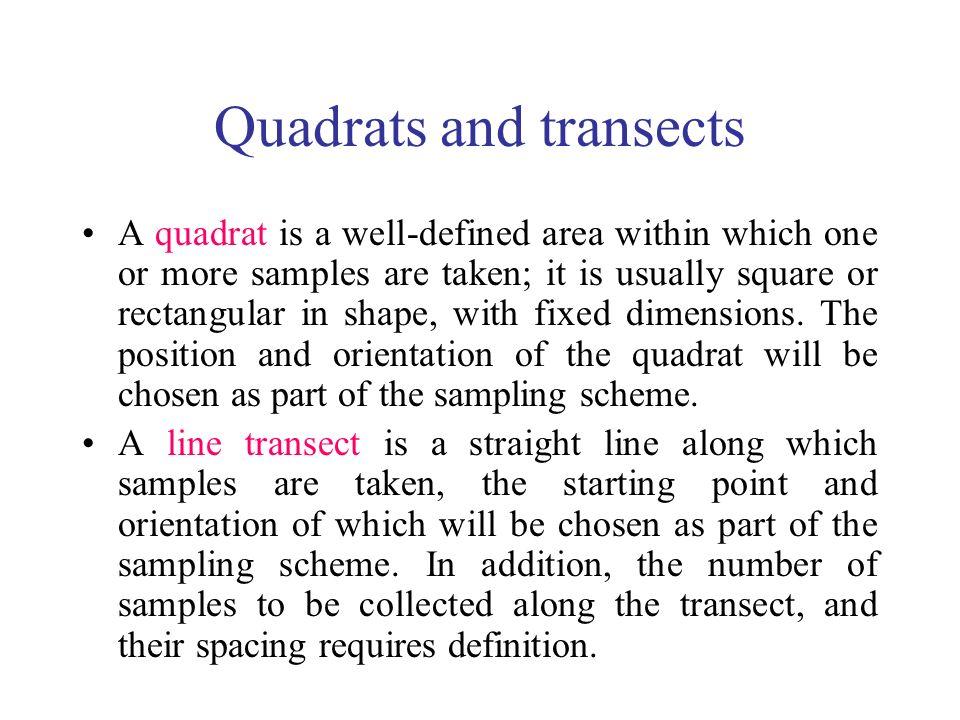 Quadrats and transects