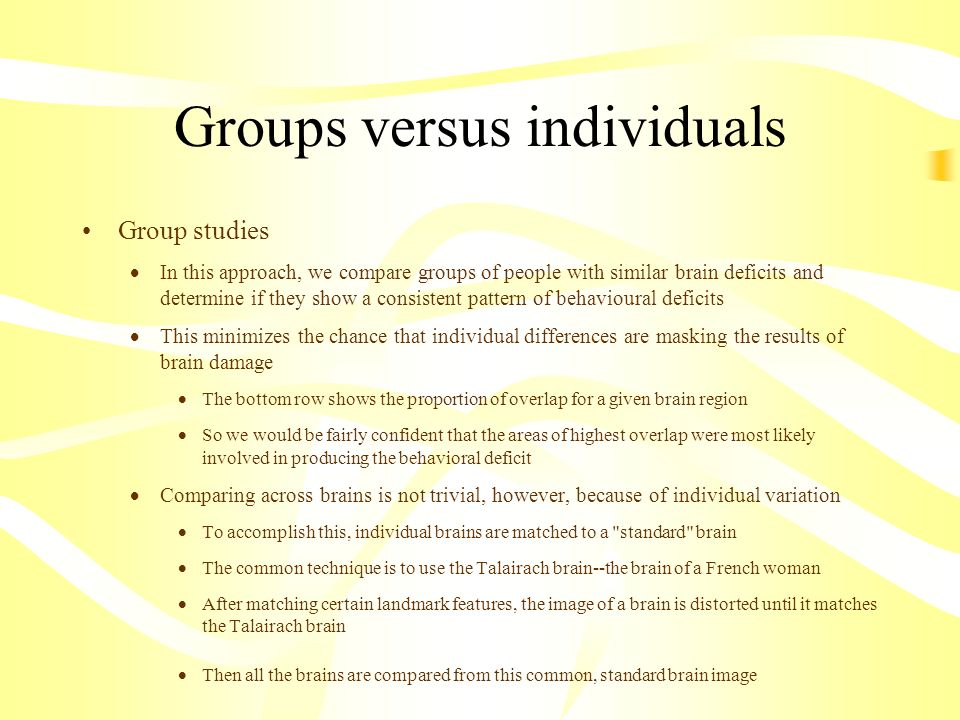Groups versus individuals