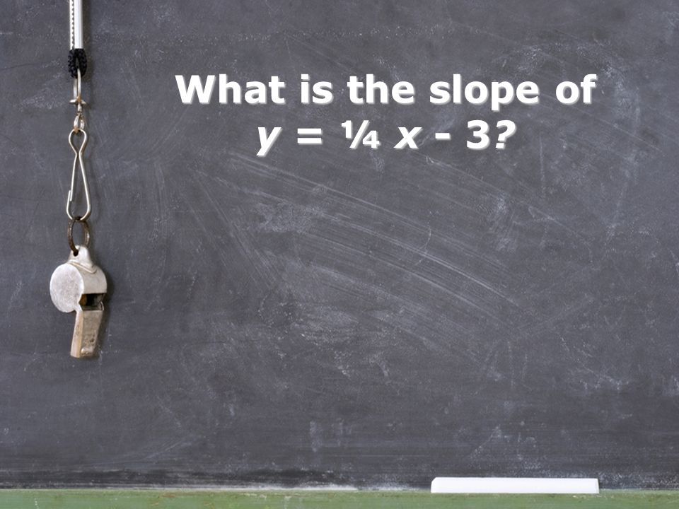 What is the slope of y = ¼ x - 3