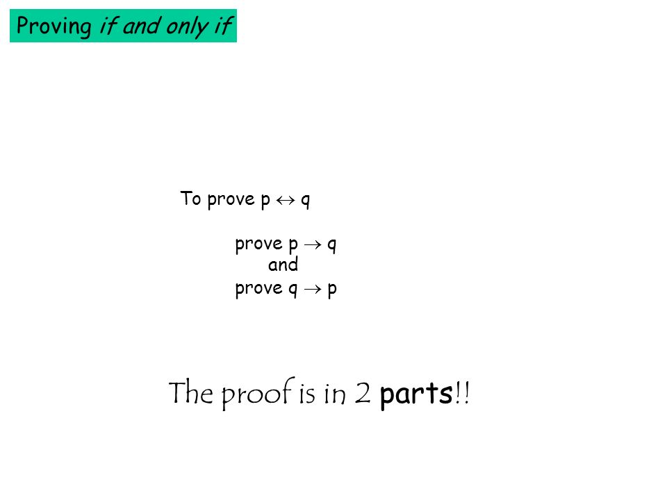 The proof is in 2 parts!! Proving if and only if To prove p  q