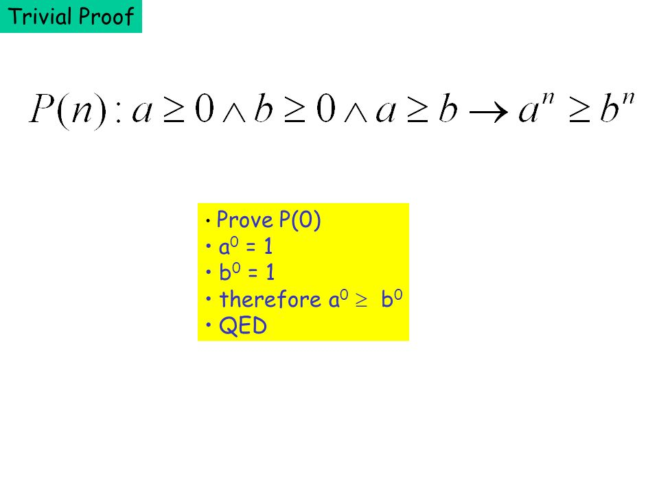 Trivial Proof Prove P(0) a0 = 1 b0 = 1 therefore a0  b0 QED