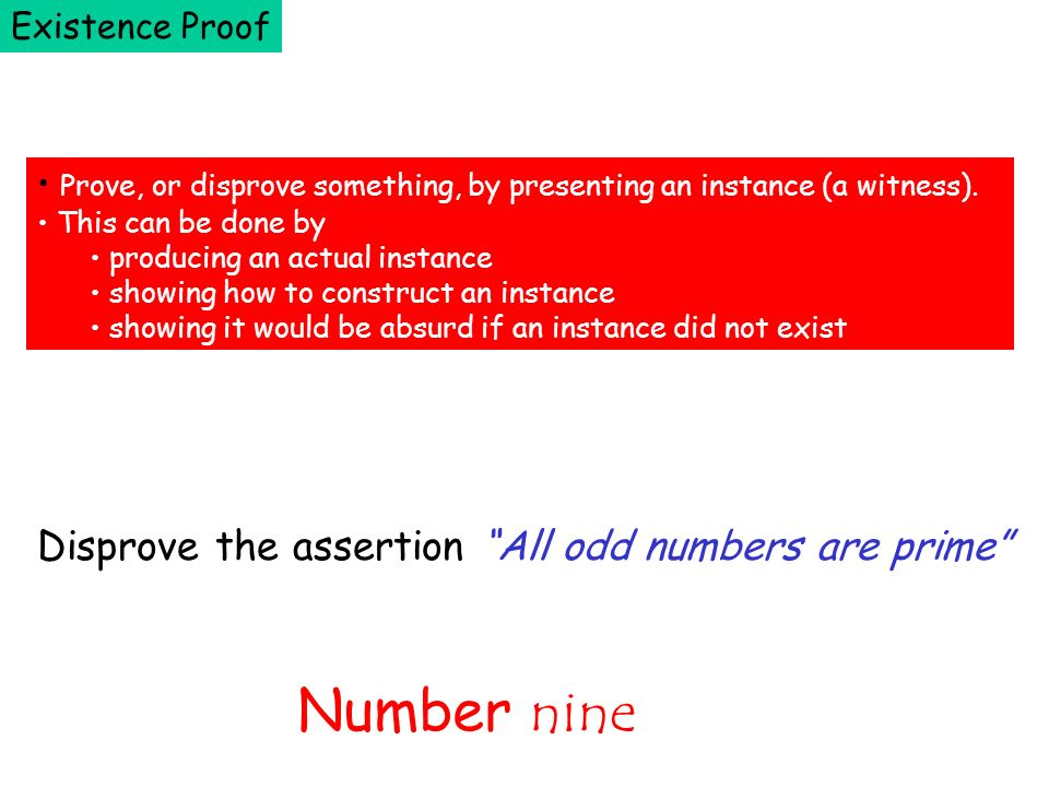 Number nine Disprove the assertion All odd numbers are prime