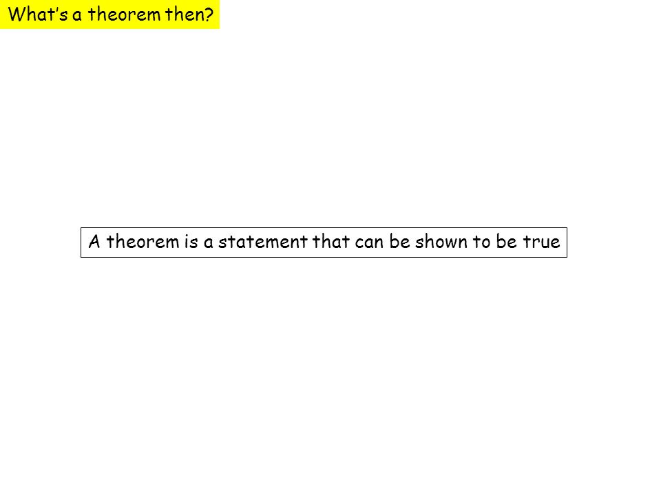 What's a theorem then A theorem is a statement that can be shown to be true