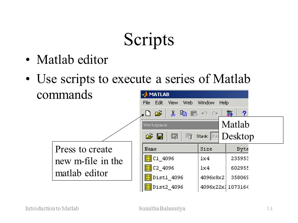 Scripts Matlab editor. Use scripts to execute a series of Matlab commands. Matlab Desktop. Press to create new m-file in the matlab editor.