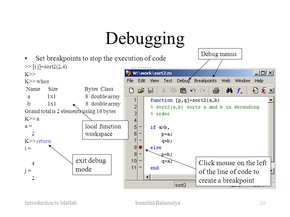 Debugging Set breakpoints to stop the execution of code