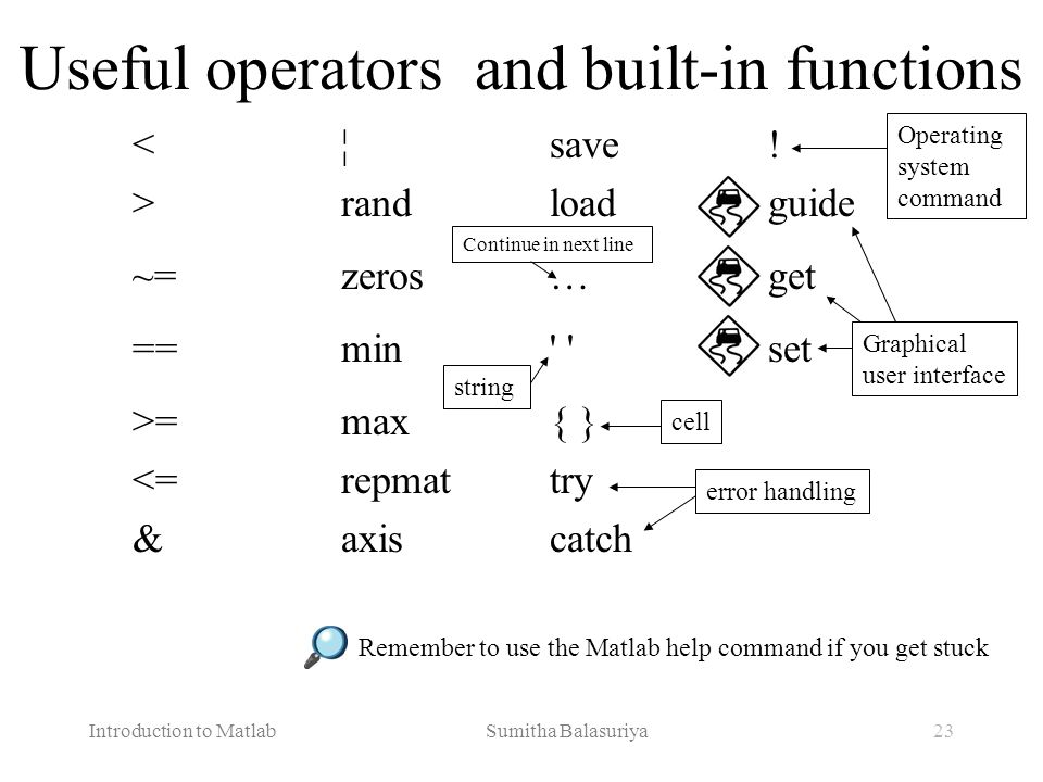 Useful operators and built-in functions