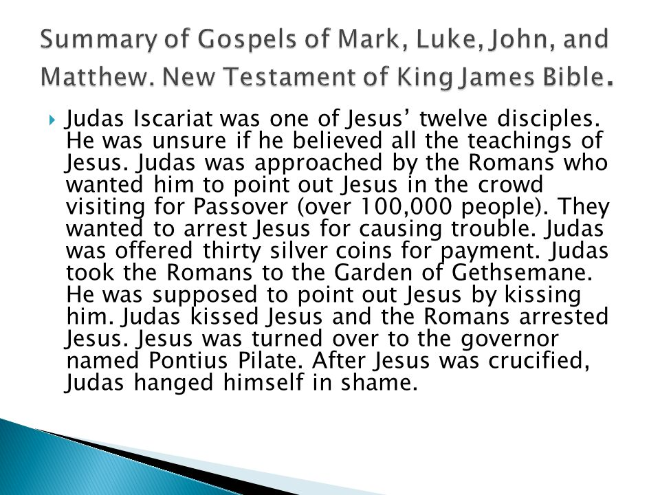 Summary of Gospels of Mark, Luke, John, and Matthew