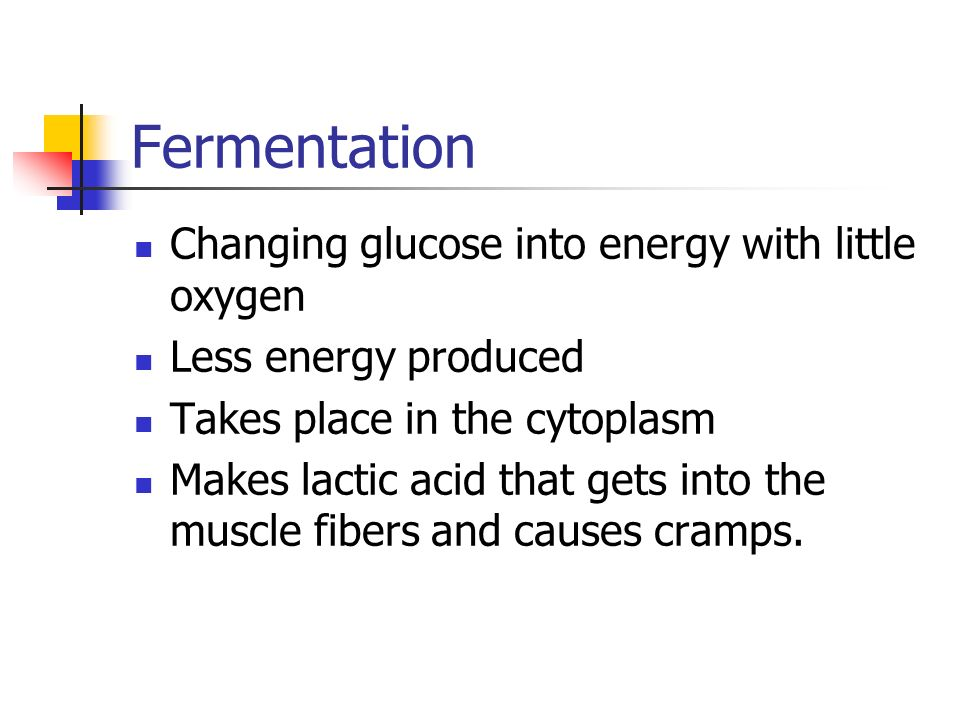 Fermentation Changing glucose into energy with little oxygen