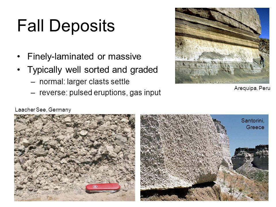 Fall Deposits Finely-laminated or massive