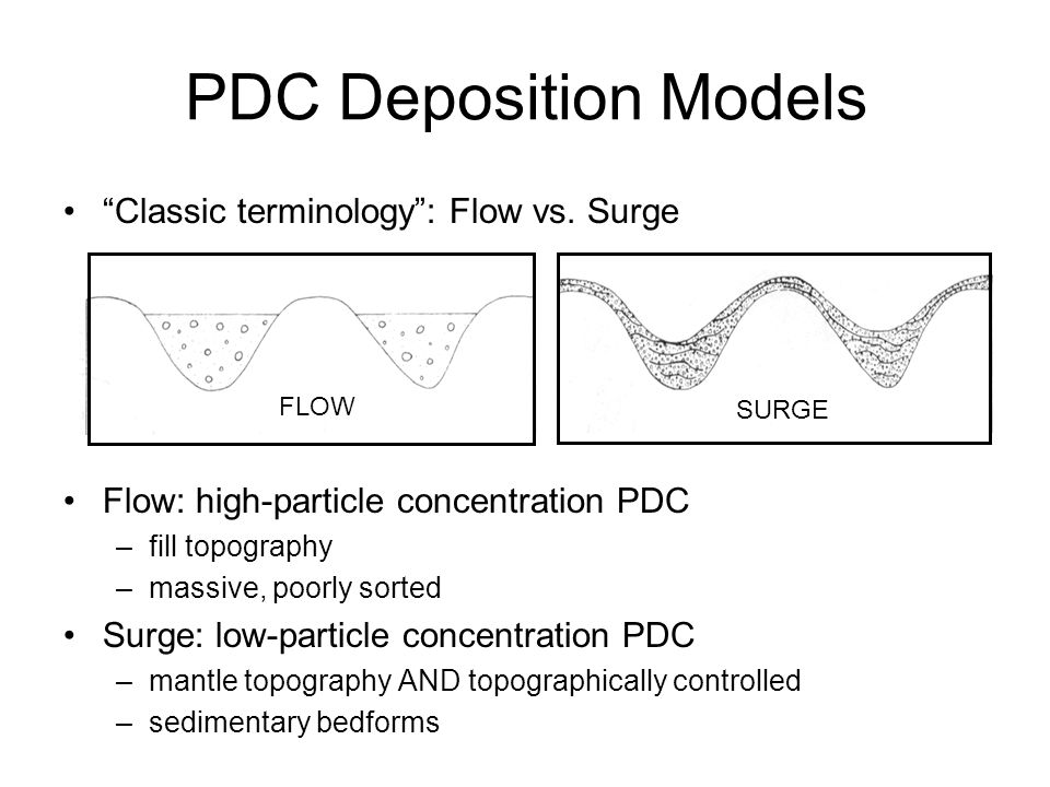 PDC Deposition Models Classic terminology : Flow vs. Surge