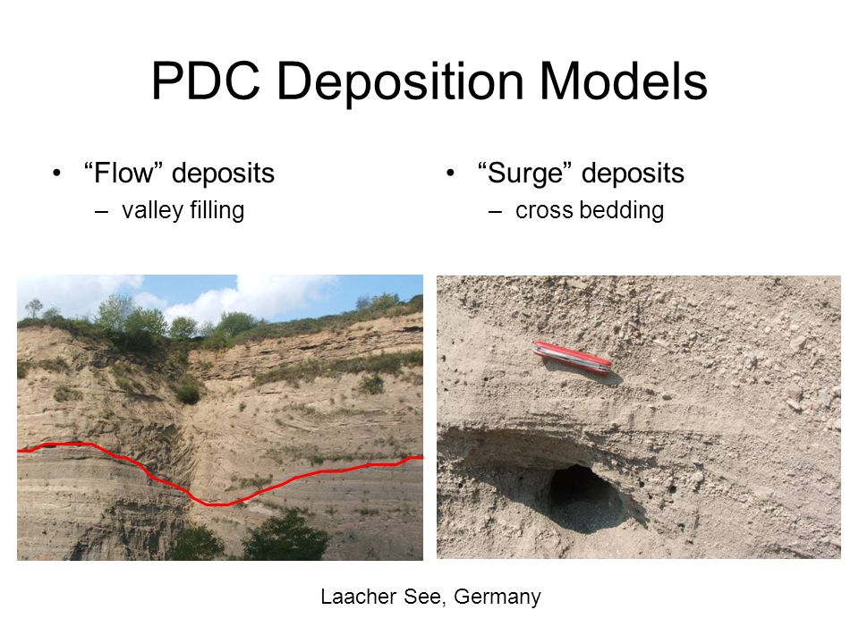 PDC Deposition Models Flow deposits Surge deposits valley filling
