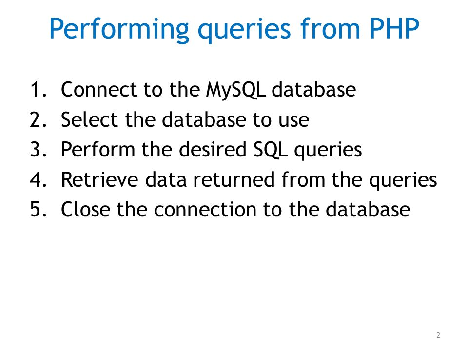 Performing queries from PHP