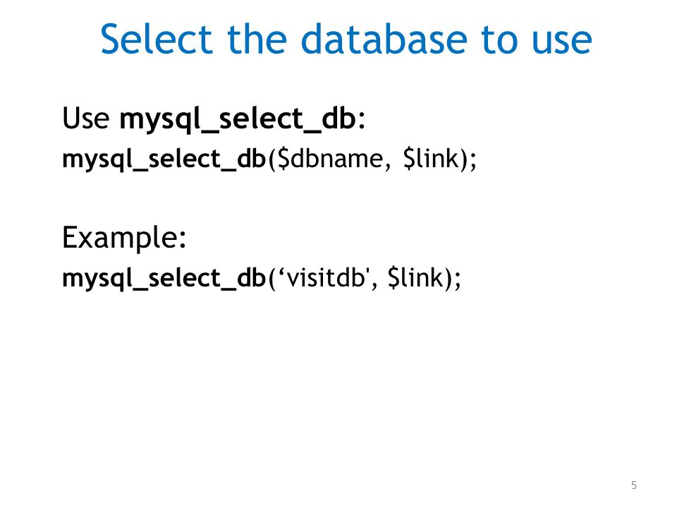 Select the database to use