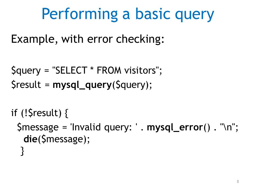 Performing a basic query